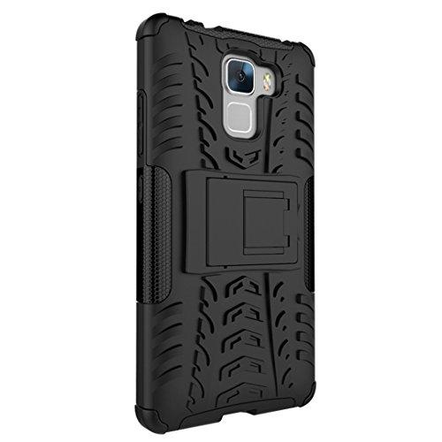 FoneExpert® Huawei Honor 7 Handy Tasche, Hülle Abdeckung Cover schutzhülle Tough Strong Rugged Shock Proof Heavy Duty Case für Huawei Honor 7 (Schwarz) - 6