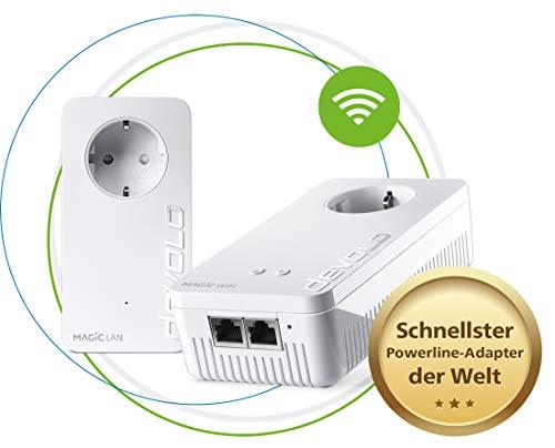devolo Magic 2 WiFi next Starter Kit: Weltweit schnellstes Powerline-Adapter-Set mit bester Mesh-WLAN-ac-Funktion via Stromleitung, ideal für Streaming (2400 Mbit/s, 2x Gigabit LAN-Anschlüsse, G.hn, A