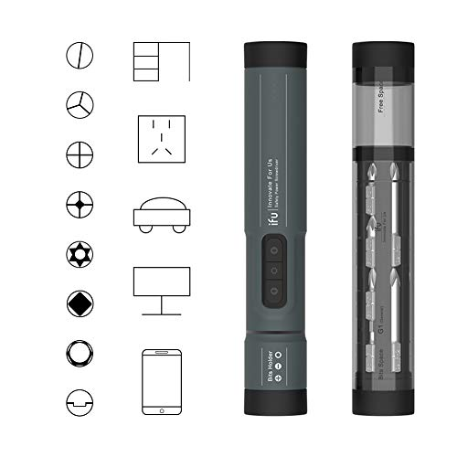 Safety Power Screwdriver Rechargeable Lithium Battery Precision Electric Screwdriver, 3 Speed Adjustable, with LED Lights and 20+8+1 Screw Bits Desktop DIY Repair Tool (Grey)