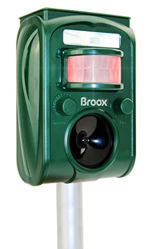 Broox Solar Animal Repeller, Ultrasonic Animal Repellent Outdoor, Motion Detector, Flashing Light, Dog, Cat Repellent Outdoor, Squirrel, Raccoon, Skunk, Rabbit, Rat, Mole, Deer, Birds