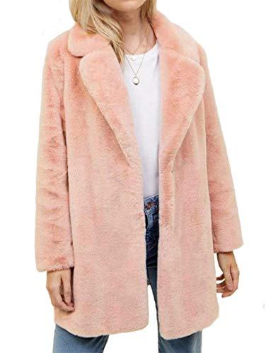 Botanmu Mujer Abrigo de Piel Sintética Parka Invierno (Rosa)