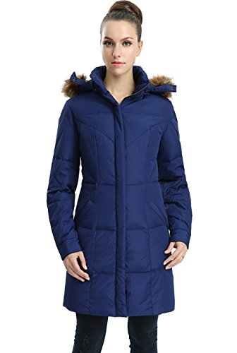 Jessie G. Women's Water Resistant Down Parka Coat - Navy Small