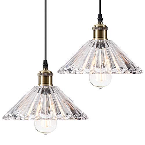 Mini lampade a sospensione da cucina moderne da appendere 2 confezioni in cristallo trasparente per interni per sala da pranzo isola loft (lampadina non inclusa)