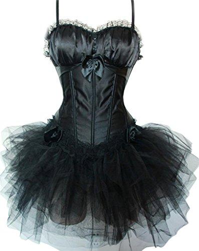 Korset zwart met knoppen incl. tule rok (110B)