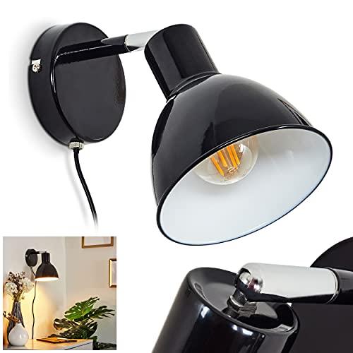 Lámpara de pared Caney de metal, color blanco y negro, 1 foco, con pantalla ajustable, 1 casquillo E27 máx. 40 W, diseño retro con cable de encendido y apagado