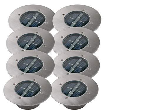 8er SET moderner Solar LED Bodeneinbaustrahler rund in Edelstahl / Glas für Außen