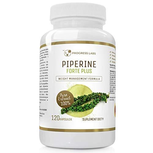 Progress Labs Piperine Forte Plus Abnehmen Fettverbrenner 1er pack 120 Kapseln Beschleunigt den Stoffwechsel Unterstützt den Verdauungsprozess Fatburner