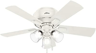 "HUNTER 52152 Crestfield Indoor Low Profile Ceiling Fan with LED Light and Pull Chain Control, 42"", Fresh White"