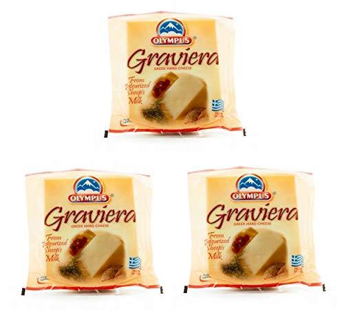 3x 350g griechischer Graveria Hartkäse 1050g harter Käse aus Schafs- und Ziegenmilch - Original aus Griechenland - 3er Set + 10ml Olivenölsachet zum testen