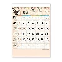 新日本カレンダー 2021年 カレンダー 壁掛け アニマルファミリー NK31