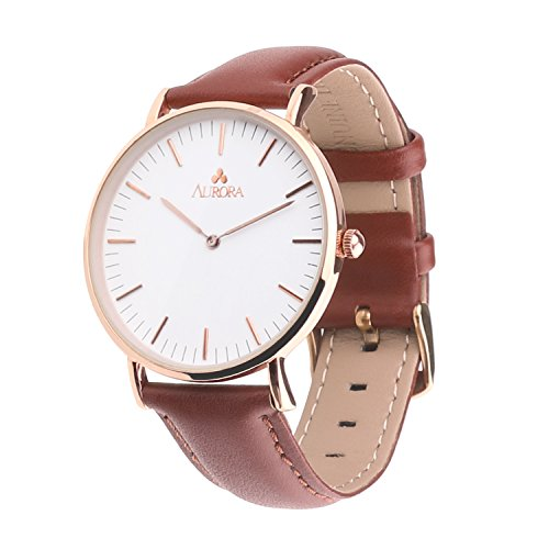 Aurora Men's Metal Retro Casual Round Dial Quartz Analog Wrist Watch with Light Brown Leather Band-Rose Gold