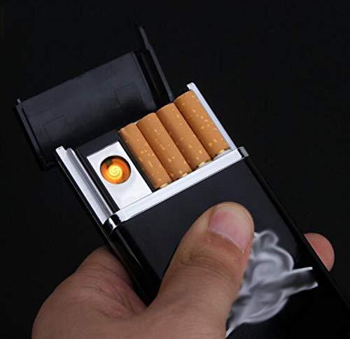 SHUANGJ High-End-Mode Geschenk Anti-Druck-Zigarettentasche mit USB-Feuerzeug Aufladen für Männer