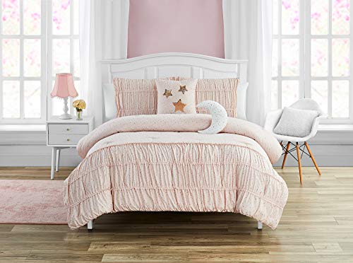 Mytex Celestial Princess Pretty 5-Piece Comforter set with gold metallic foil, Smocked texture, Girls, Teen bedding, Stars and Moons, Two Twinkling Decorative Pillows, Shabby Chic, Blush Pink, Full