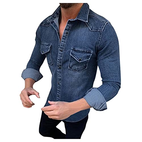 Taurner Camisa de Mezclilla Manga Larga de Color Sólido para Hombre Abrigo Recto Superior de Mezclilla Superior Long Sleeve Suelto con Bolsillo