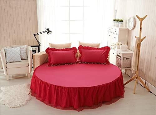 RAOMALV Falda de Cama de Cama Redonda de algodón Puro Colcha Redonda de Hotel de algodón de una Pieza Juego de Cuatro Piezas Cama de Color sólido Funda de colchón de Color Simple