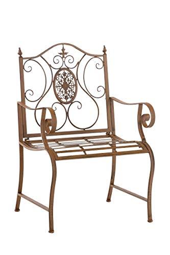 CLP Chaise de Jardin Punjab I Chaise de Jardin en Fer Forgé avec Accoudoirs Design Romantique Style Antique I Chaise de Jardin Terrasse ou Balcon I Couleur: Marron Antique