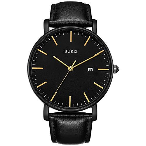 BUREI Stilvolle Minimalistische Ultra Slim Herren Uhr Schwarz Datum Golden-Zeiger Großes Gesicht Armbanduhr mit Schwarz leaderband