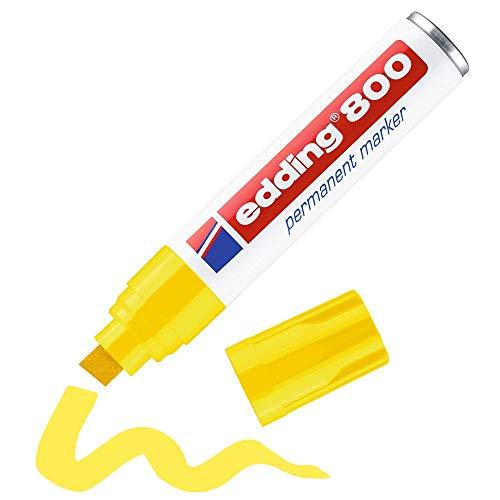 edding 800 Permanentmarker - gelb - 1 Stift - Keil-Spitze 4-12 mm - für breite Markierungen - wasserfest, schnell-trocknend, wischfest - für Karton, Kunststoff, Holz, Metall, Glas