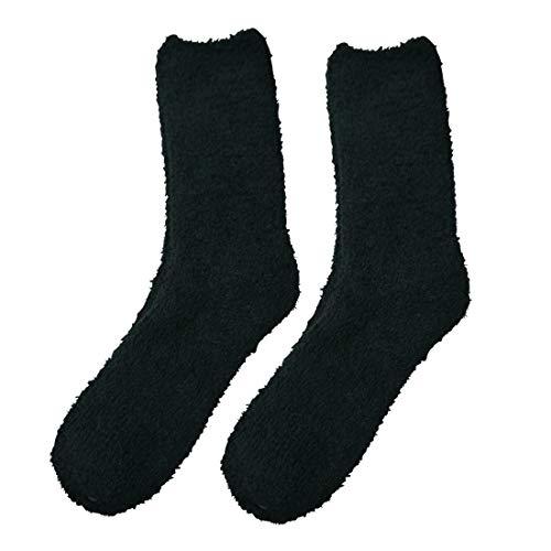 Qano 4117 2er Pack Herren Kuschelsocken, Wellness Socken, schwarz uni, schwarz mit grauen Schaftringeln (47-50)
