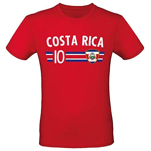 Shirt-Panda Fußball WM T-Shirt · Fan Artikel · Nummer 10 · Passend zur Weltmeisterschaft · Nationalmannschaft Länder Trikot Jersey für 2022 · Herren Damen Kinder · Costa Rica XXL