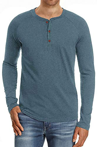 Mens Henley Long Sleeve T-Shirts Button Round Neck Slim Fit Cotton Tops Casual Shirt Blue S