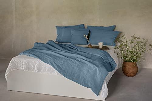 Ger3as Juego de ropa de cama de lino 100 % natural lavado a la piedra, lino natural, con cierre de hotel (azul, 155 x 220 cm, 80 x 80 cm)