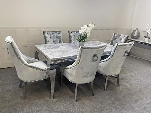 Schwarze Furniture Imperial Grey Marble Mirrored Dining Table and 6 Chairs Set
