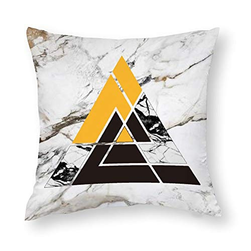 BYRON HOYLE Funda de cojín geométrica triangular de mármol decorativo para el hogar, con textura de mármol, de algodón, para exteriores, cuadrado, para sofá, cama, coche, 60 x 60 cm