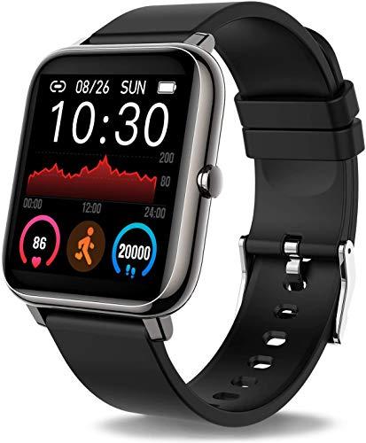 Smartwatch, Reloj Inteligente IP67 con Pantalla Táctil De 1.4'', Monitor De Sueño Pulsómetro Podómetro Cronómetros, Reloj Deportivo para Hombre Mujer Niños con Android iOS Black