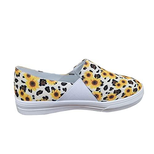 Sandalias Mujer Verano 2021 Vestir Zapatos Planos Cómodos para Caminar para Mujer Sandalias con Estampado de Girasol Zapatillas de Deporte Alpargatas Casuales Zapatos de Mujer de Verano