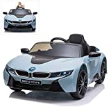 Modern-Depo Licensed BMW i8 Coupe Kids Electric Ride On Car with Parental Remote Control, MP3, FM Radio, LED Lights, Openable Doors, Blue