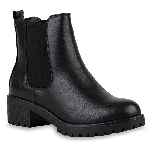 Stiefeletten Damen Chelsea Boots Profilsohle Blockabsatz Leder-Optik Booties Schuhe 122863 Schwarz...