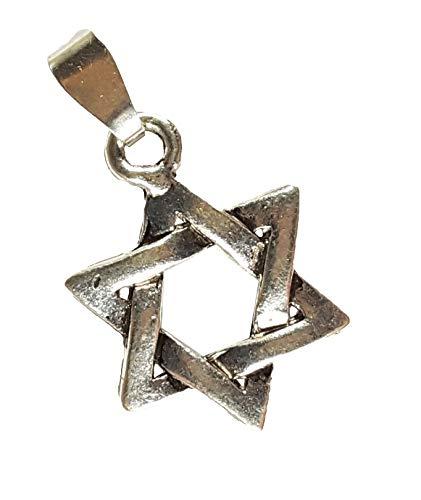 KRIO® - Hexagramm/Davidstern Anhänger in Silberoptik mit Sterlingsilberschlaufe, Talismann, Glücksbringer