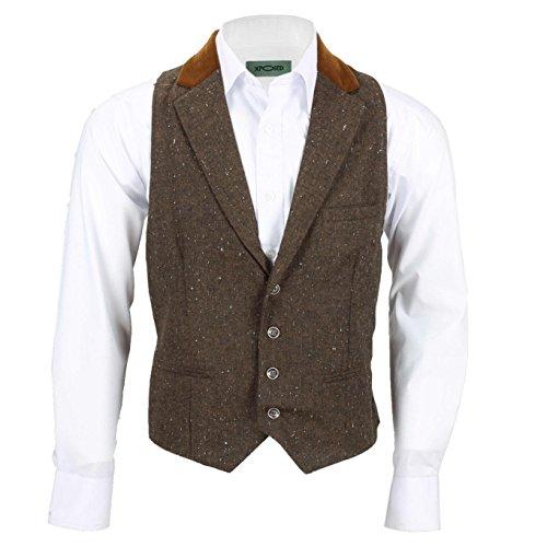 Xposed Vintage Herren Tweed Wolle 3-teiliger Anzug separat erhältlich Retro Blazer Weste Hose Gr. 46, Weste, Kragen, braun