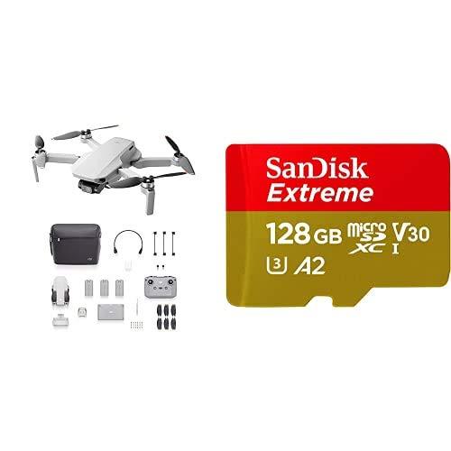DJI Mini 2 Fly More Combo - Ligero y Plegable Drone Quadcopter + SanDisk Extreme - Tarjeta de Memoria microSDXC de 128GB con Adaptador SD
