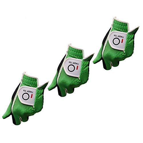 FINGER TEN Golfhandschuh Herren Linke Hand 3 Stück (Not Paar) Passen Rechtshänder Golfer Allwetter Mikrofaser Rain Grip Golf Handschuh Links Grau Schwarz Weicher Komfort Passform (Grün-M/L Left)