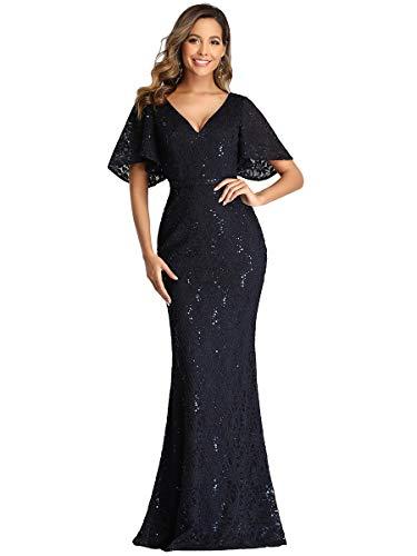 Ever-Pretty Damen V-Ausschnitt Kurze Ärmel Spitze Meerjungfrau Lang Elegant Partykleider Navy Blau 52