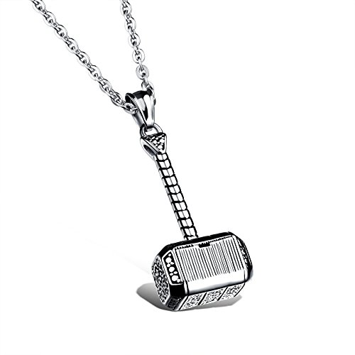 Oidea Stainless Steel Punk Rock Mens Handmade Thors Hammer Pendant Necklace for Biker,Birthday Gifts
