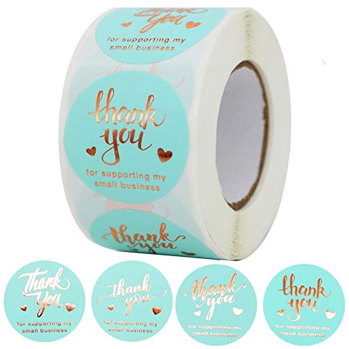 """NSWDYLO Thank You Stickers Roll 500pcs 1.5"""" Thank You for Supporting My Small Business Stickers with 4 Designs Gold Foil Thank You Stickers Labels for Business Blue Thank You Small Business Stickers"""