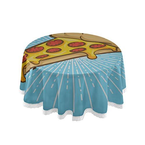 N\A Cercle Rond Table Housse Delicious Pizza Pop Art Comics Travail Table Couverture 60 Pouce Dentelle Couture Macramé Polyester Décoration