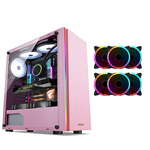 WSNBB Pink Caso di Gioco, Case Mid-Tower ATX/M-ATX/ITX PC Gaming Computer, Lato Trasparente, USB3.0, Configura Ventilatore di Colore, for Desktop PC Computer, (Size : 6 Fan)