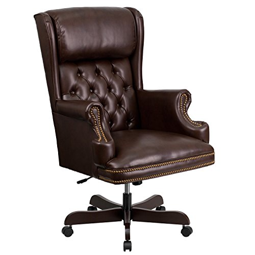 Flash Furniture High Back Traditional Tufted Brown LeatherSoft Executive Ergonomic Office Chair with Oversized Headrest & Nail Trim Arms