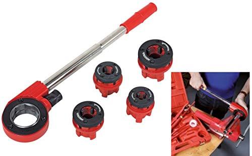 ROTHENBERGER Industrial Super Cut - 7 teiliger Gewindeschneidkluppensatz - Inkl. 4 Schneidköpfen 070669E