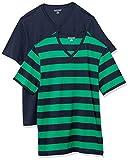 Amazon Essentials 2-Pack Slim-fit V-Neck T-Shirt Undershirts, Rayures de Rugby Vert et Bleu Marine, 43-44