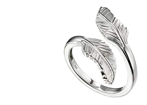 Elements Silver 925 Sterling Silver Feather Wrap Over Ring Size K