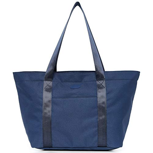 Nylon Family Travel Tote Beach Bag with Zipper for Women, Teacher or Nurse (Blue)