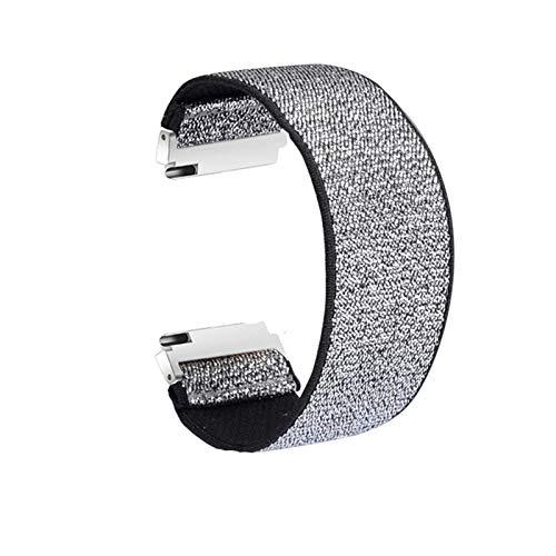 ZLRFCOK Correa de nailon elástico para reloj Samsung Galaxy Watch Active2 de 18 mm, 20 mm, 22 mm, nailon colorido para pulsera de reloj Huawei (color de la correa: plata, ancho de la correa: 20 mm)