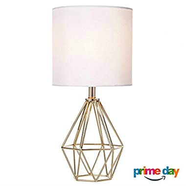 Cotulin Mini Golden Delicate Design Hollowed Out Base Bedroom Living Room Side Table Lamp, With Golden Base and White Shade