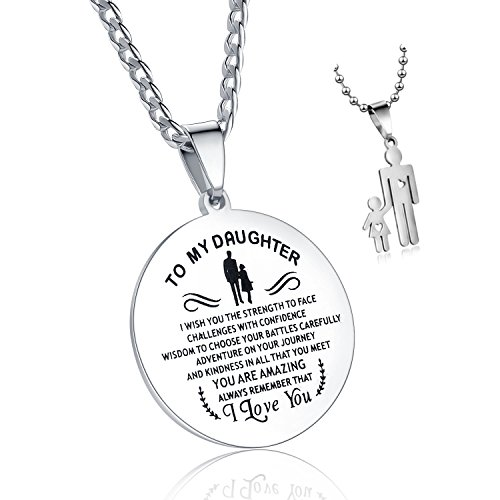 C&L Gift to My Daughter Round Dog Tag Necklace,Always Remember That I Love You