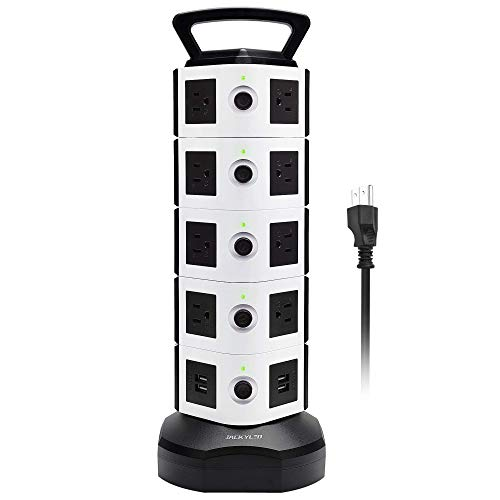 Power Strip Tower JACKYLED Surge Protector Electric Charging Station 3000W 13A 18 AC Outlets 4 USB Ports with 16AWG 6.5ft Heavy Duty Extension Cord Universal for Home